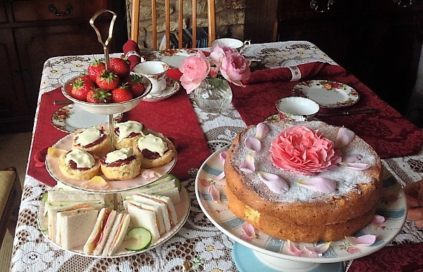 Enjoy homemade afternoon tea and roses