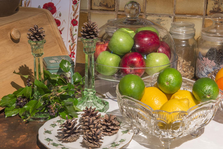 Christmas colours fruit decorations