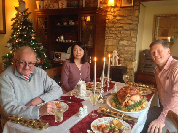 Enjoying Christmas Dinner