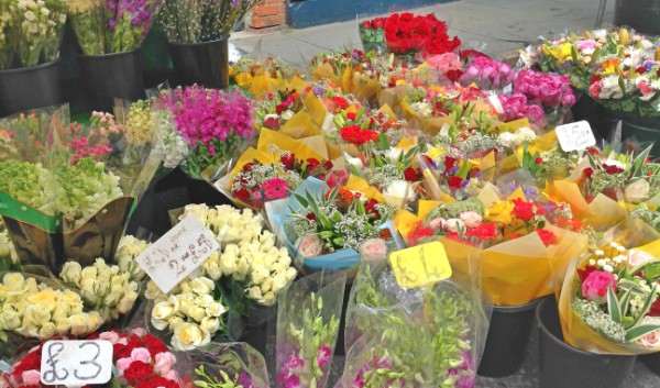 Shopping for flowers at the local market