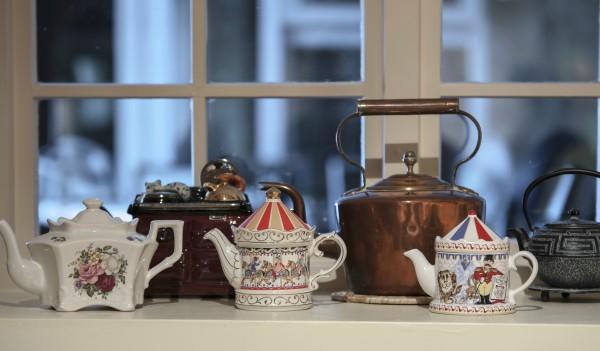 Variety of teapots on display