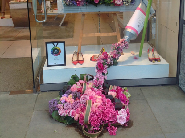 Floral toothpaste in a shop window
