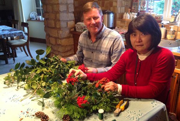 Making a floral wreath