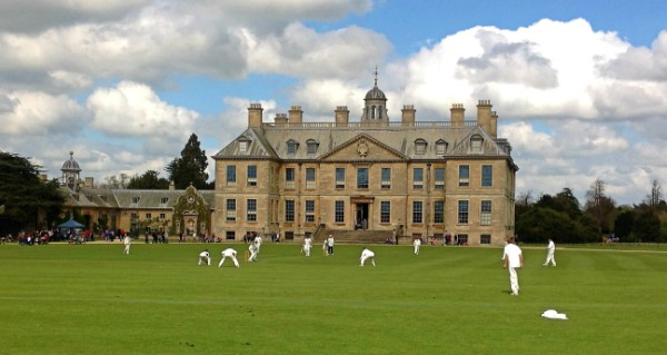 Playing cricket in front of Belton House