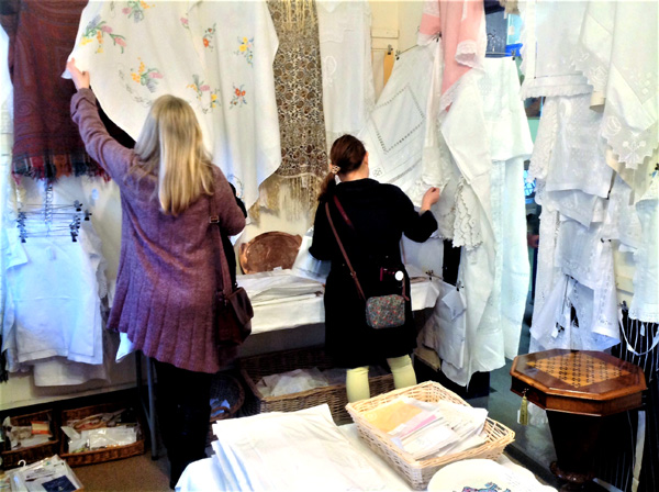 Shopping for antique lace and linen.