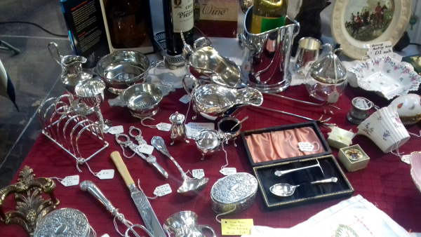 Silver items inside the pavilion.