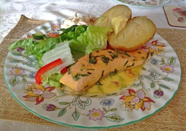 Delicious salmon in orange and tarragon sauce