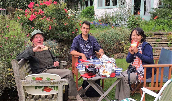 Enjoying tea and chatting in a private garden