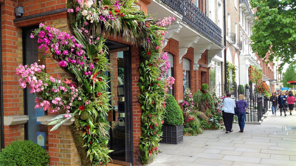 Stunning floral displays in shop fronts